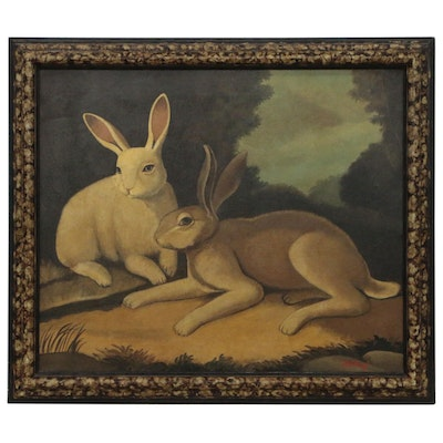 "William Skilling Oil Painting ""Two Rabbits in a Wooded Landscape"""
