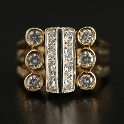 Modern 18K Yellow Gold 1.25 CTW Diamond Ring