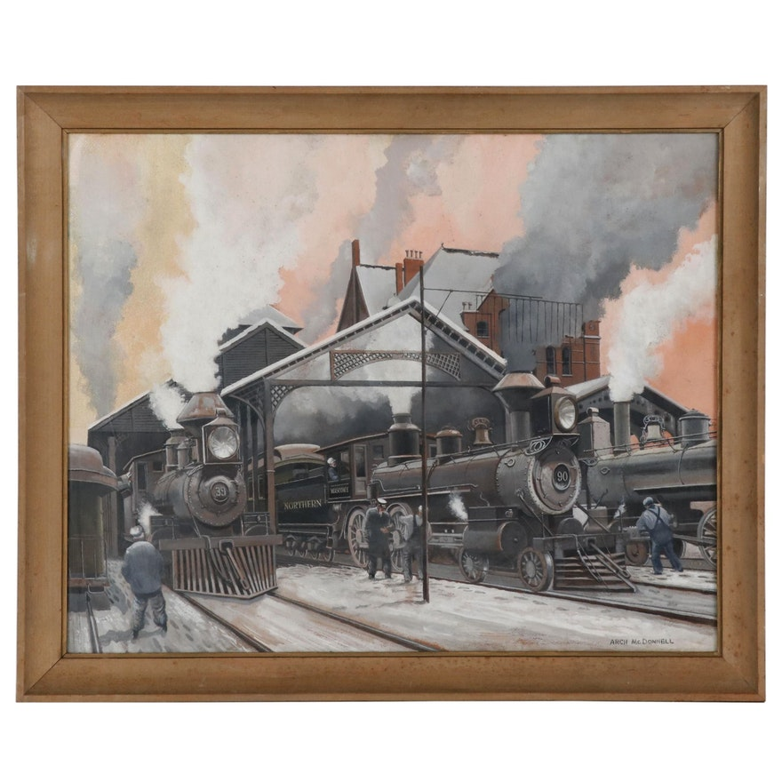 Arch McDonnell Gouache Painting of Locomotives at Railroad Station