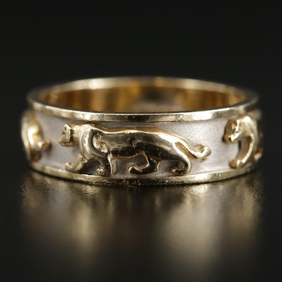 14K Yellow Gold Feline Motif Band