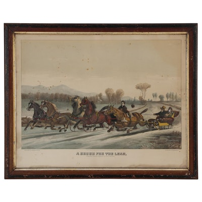 "Hand-colored Lithograph after Scott Leighton ""A Brush for the Lead"""