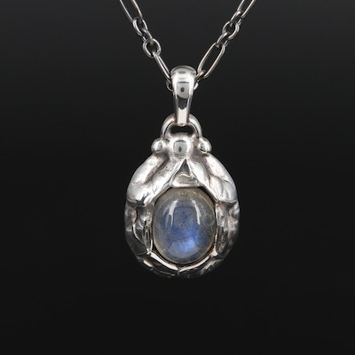 Georg Jensen Sterling Silver Labradorite Pendant Necklace