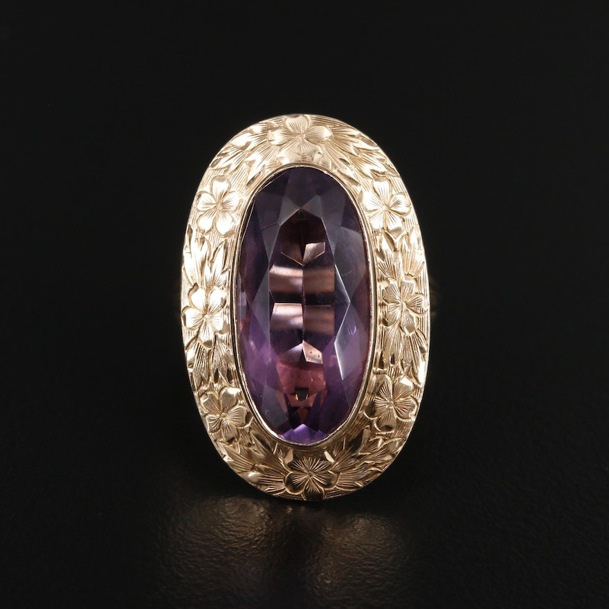 Circa 1940 10K and 14K Amethyst Ring with Engraved Floral Bezel