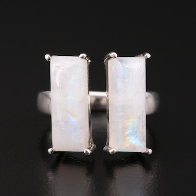 Sterling Silver Rainbow Moonstone Open Top Ring