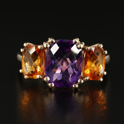 14K Gold Amethyst and Citrine Ring