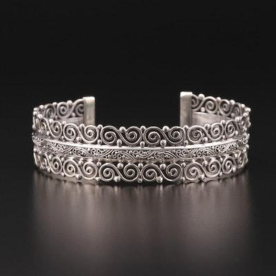 Sarda Sterling Silver Motif Cuff Bracelet