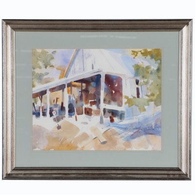 """Don Dennis Watercolor Painting """"Open Air Boat Shed"""""""