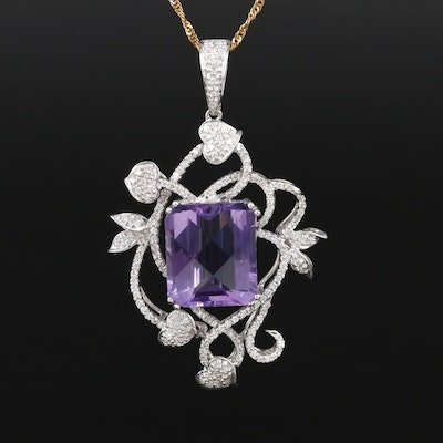 18K and 14K Gold 10.50 CT Amethyst and Diamond Enhancer Pendant Necklace