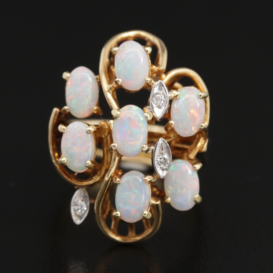 18K Yellow Gold Opal Cluster Ring with White Gold Diamond Accents