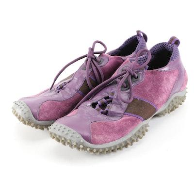 Miu Miu Aubergine Suede and Leather Sneakers