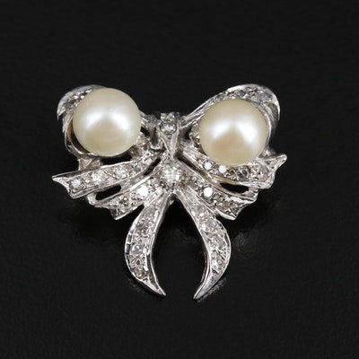 14K Gold Pearl and Diamond Bow Brooch