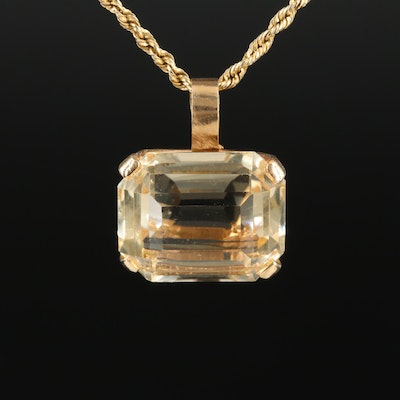 14K Gold 19.95 CT Citrine Rope Chain Necklace