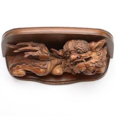 Chinese Carved Wood Dragon Architectural Element Wall Shelf