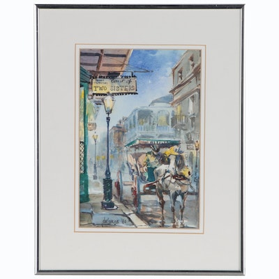 Ann DeLorge New Orleans Street Scene Watercolor Painting, 1981