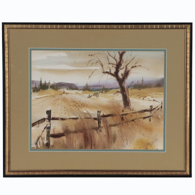 Ray Loos Rural Landscape Watercolor Painting