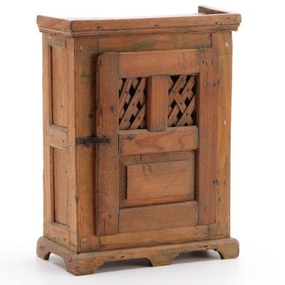Handmade Pine Miniature Cabinet, 19th Century