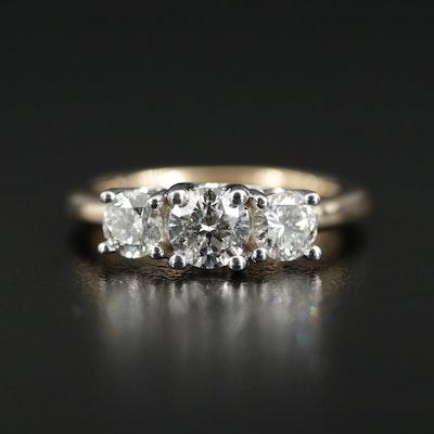 14K Yellow Gold 1.11 CTW Diamond Three Stone Ring