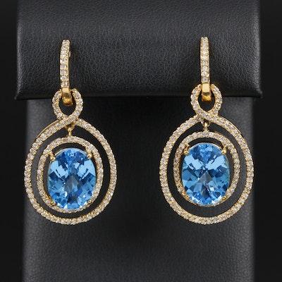 14K Gold 18.00 CTW Topaz and Diamond Dangle Earrings