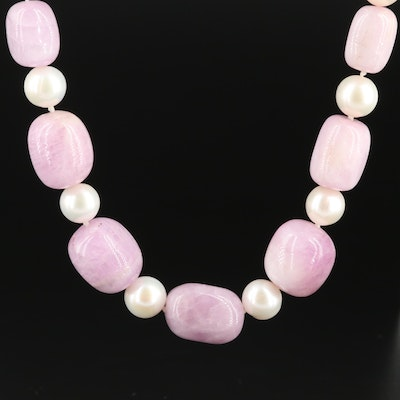 Sterling Pearl and Quartzite Necklace