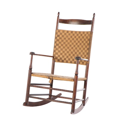 Mt. Lebanon Shaker Woven Canvas Rocking Chair, 20th Century