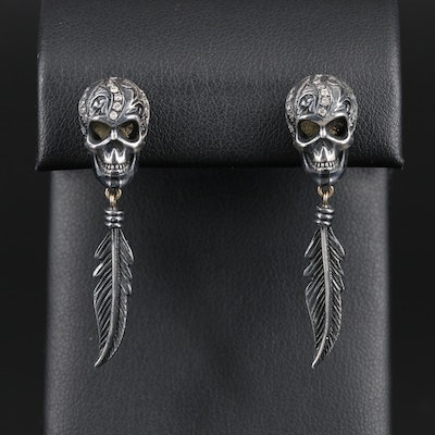 Sterling Silver Diamond Skull and Feather Motif Earrings