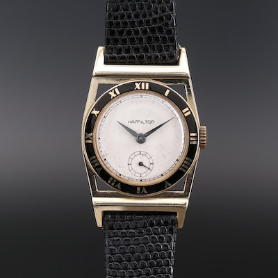 Vintage Hamilton Piping Rock 14K Gold Stem Wind Wristwatch, 1952
