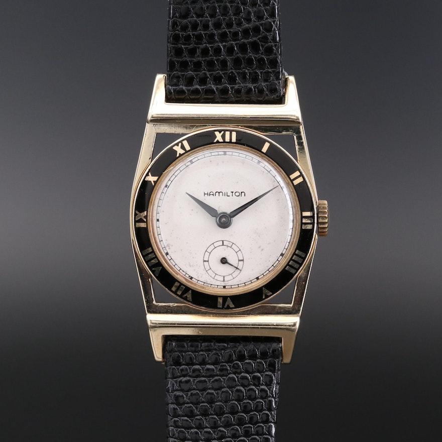 Vintage Hamilton Piping Rock 14K Gold Stem Wind Wristwatch, 1952