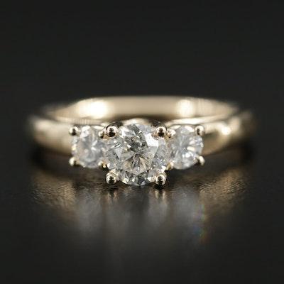 14K Gold 1.00 CTW Diamond Three Stone Ring