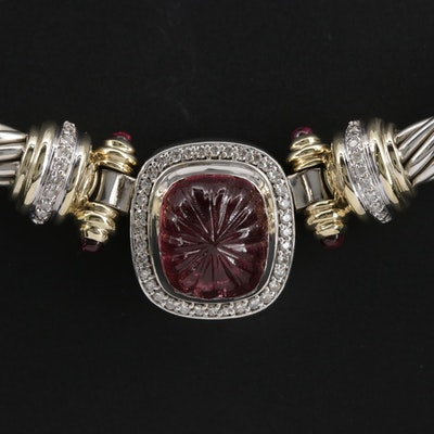 David Yurman Sterling Pink Tourmaline Cable Necklace with 18K Accents