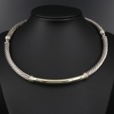 "David Yurman ""Metro Cable"" Sterling Necklace with 14K Gold Accent"