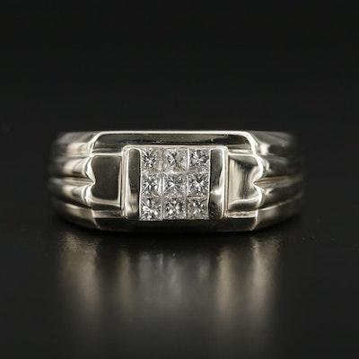 14K Gold Diamond Euro-Shank Ring