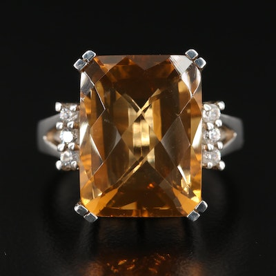 Sterling Silver Citrine and Zircon Ring