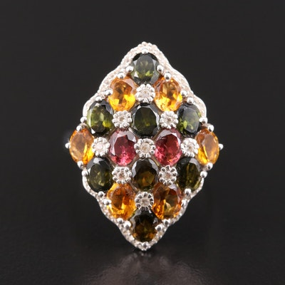 Sterling Silver Tourmaline and Topaz Harlequin Patterned Ring