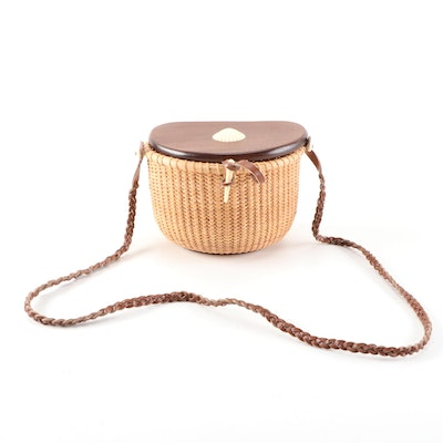 Nantucket Style Wicker Basket Purse with Braided Leather Strap and Faux Shell