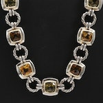 David Yurman Sterling Silver Citrine Noblesse Link Necklace with 18K Accents