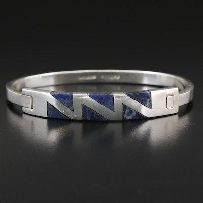 Mexican Sterling Silver Sodalite Bangle Bracelet