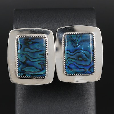 Tony Guerro Navajo Diné Sterling Silver Abalone Earrings
