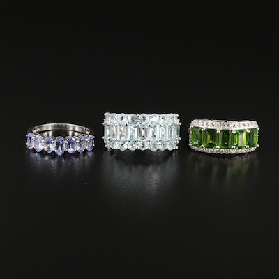 Sterling Silver Tanzanite, Topaz and Diopside Rings