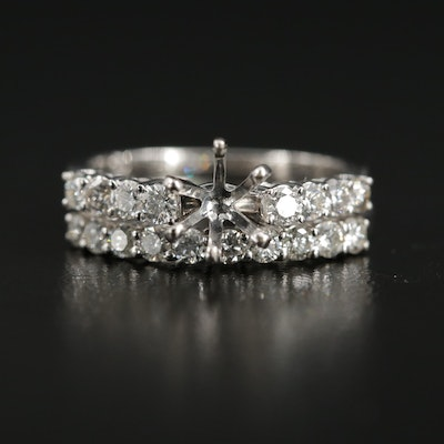 18K Gold Diamond Semi-Mount Ring Set