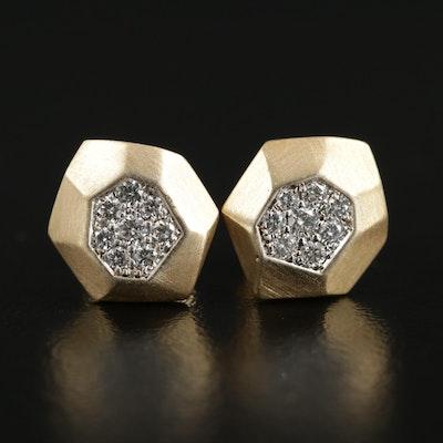 18K Yellow Gold Diamond Earrings with Matte Finish