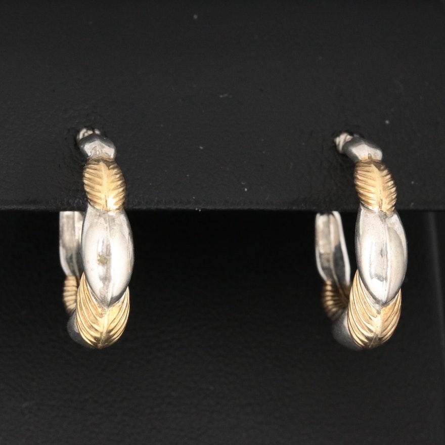 Sterling Silver Leaf Motif Hoop Earrings