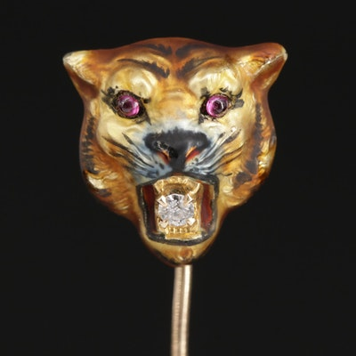 1930s Wordley, Allsopp & Bliss 14K Diamond and Enamel Tiger's Head Stick Pin
