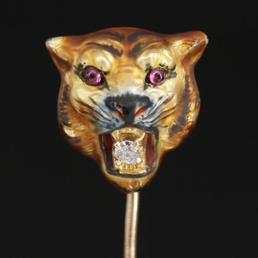 1930s Wordley, Allsopp & Bliss 14K Diamond and Enamel Tiger's Head Stick Pin