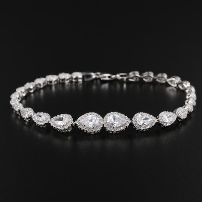 Sterling Silver Cubic Zirconia Graduated Bracelet