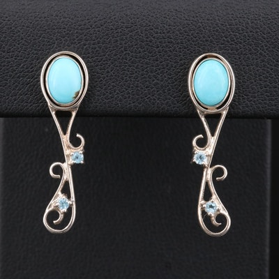 Sterling Silver Turquoise Stud Earrings With Topaz Jackets