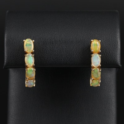 Sterling Silver Opal J-Hoop Earrings