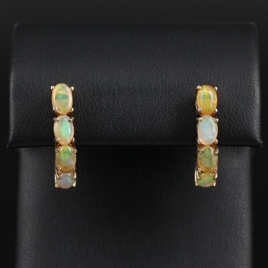 Sterling Silver Opal J-Hoop Earrings
