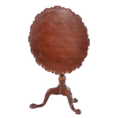 Chippendale Style Mahogany Tilt-Top Center Table, Early to Mid 20th Century