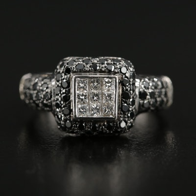 18K White Gold 1.27 CTW Diamond and Black Diamond Ring