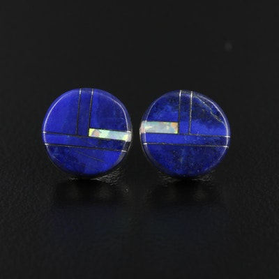 Sterling Lapis Lazuli and Synthetic Opal Earrings